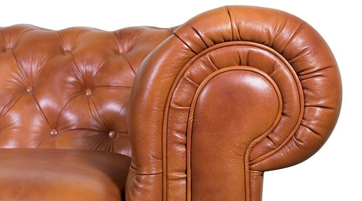 Кожаный двухместный диван Честер Классик - 8
