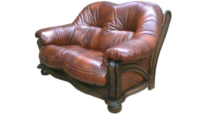 Кожаный двухместный диван Диаз