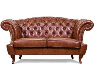 Кожаный двухместный диван Честер Глост
