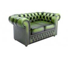 Кожаный двухместный диван Chesterfield