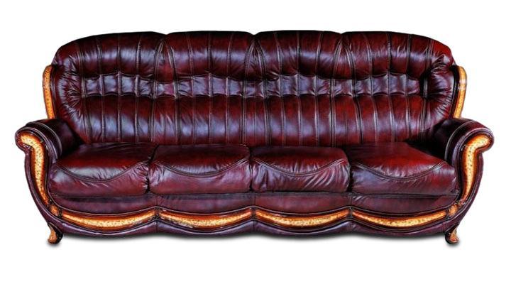 Кожаный четырехместный диван Джозеф