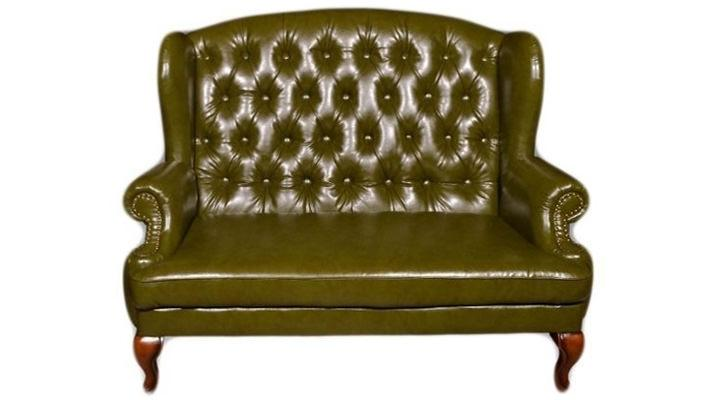 Кожаный двухместный диван Вальтер