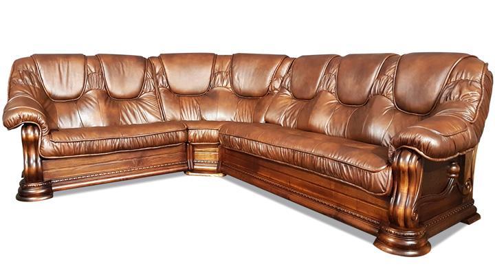 Кожаный угловой диван Гризли 298