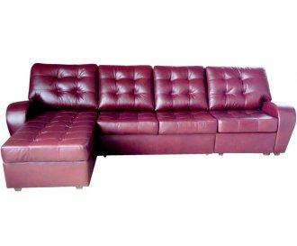 Кожаный/экокожа диван реклайнер Винс с оттоманкой