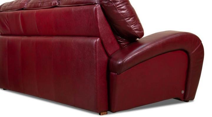 Кожаный/экокожа диван реклайнер Винс с оттоманкой - 6