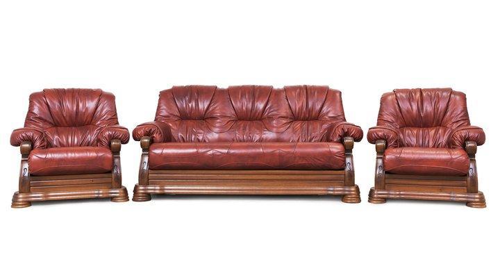 Кожаный комплект с двумя креслами Виконт