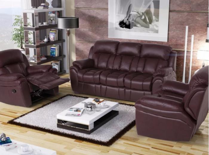 Кожаный четырехместный диван Бостон с реклайнерами