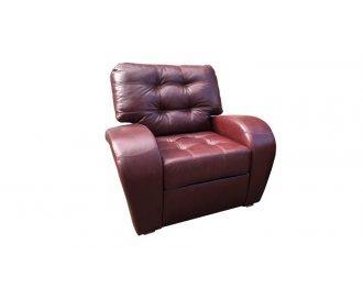 Кожаное кресло с реклайнером Винцент бордовое