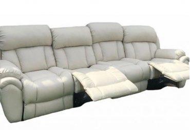 >Кожаный диван Бостон с реклайнером