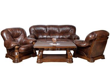 >Кожаный диван и кресло Senator