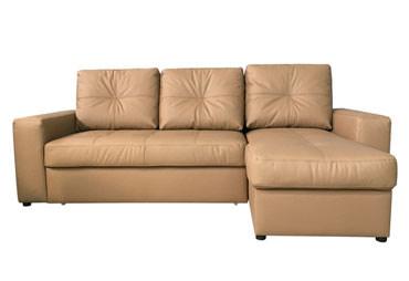 >Кожаный угловой диван Калифорния мини с отаманкой